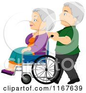 Cartoon Of A Senior Man Pushing His Wife In A Wheelchair Royalty Free Vector Clipart
