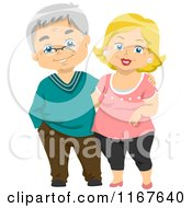 Cartoon Of A Happy Senior Couple Royalty Free Vector Clipart