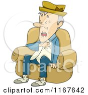 Cartoon Of A Senior Man Having A Heart Attack Royalty Free Vector Clipart by BNP Design Studio