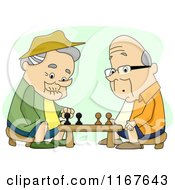 Cartoon Of Retired Men Playing Chess Royalty Free Vector Clipart