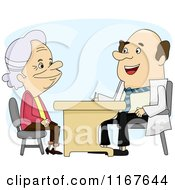 Cartoon Of A Senior Woman Talking To Her Doctor Royalty Free Vector Clipart