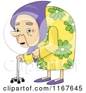 Cartoon Of An Old Hunchback Woman With Osteoporosis Royalty Free Vector Clipart
