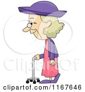 Cartoon Of A Senior Woman Walking With A Support Royalty Free Vector Clipart