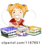 Cartoon Of A Happy School Girl Taking Notes By Books Royalty Free Vector Clipart