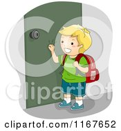 Cartoon Of A Happy Blond School Boy Knocking On A Door Royalty Free Vector Clipart