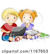 Cartoon Of A School Boy And Girl Studying On A Laptop Computer Royalty Free Vector Clipart