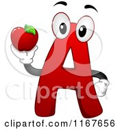 Cartoon of a Red Letter a School Mascot Holding an Apple - Royalty Free Vector Clipart by BNP Design Studio #COLLC1167656-0148
