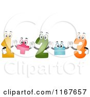 Cartoon Of Colorful Number Mascots Performing An Addition Formula Royalty Free Vector Clipart