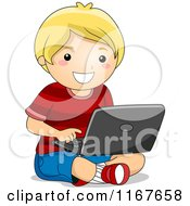 Cartoon Of A Happy Blond Boy Using A Laptop On The Floor Royalty Free Vector Clipart