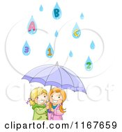 Cartoon Of Two Happy Girls Under An Umbrella With Number And Letter Rain Drops Royalty Free Vector Clipart