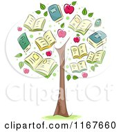Cartoon Of A Tree With School Book And Apple Foliage Royalty Free Vector Clipart
