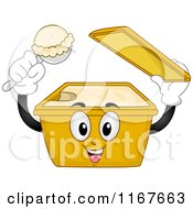 Cartoon Of An Ice Cream Mascot Holding A Scoop Royalty Free Vector Clipart