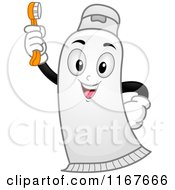 Cartoon Of A Happy Toothpaste Mascot Holding Up A Brush Royalty Free Vector Clipart