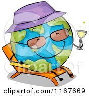Cartoon Of A Relaxed Earth Sun Bathing With A Cocktail Royalty Free Vector Clipart