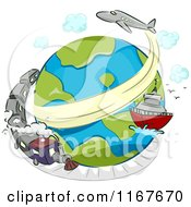 Cartoon Of A Globe With A Train Ship And Airplane Royalty Free Vector Clipart by BNP Design Studio