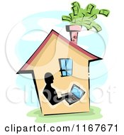 Cartoon Of A Home Business Worker On A Laptop With Cash Flying From The Chimney Royalty Free Vector Clipart