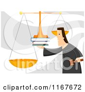 Cartoon Of A Judge Weighing Evidence On Scales Royalty Free Vector Clipart