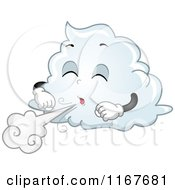Cartoon Of A Cloud Mascot Blowing Wind Royalty Free Vector Clipart