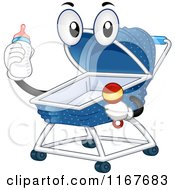 Cartoon Of A Baby Crib Mascot Holding A Rattle And Bottle Royalty Free Vector Clipart