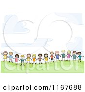 Group Of Diverse Children Holding Hands On A Hill