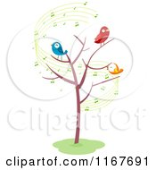 Cartoon Of A Bare Tree With Singing Birds And Music Notes Royalty Free Vector Clipart by BNP Design Studio