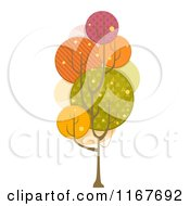 Cartoon Of A Tree With Retro Circle Pattern Foliage Royalty Free Vector Clipart