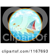 Cartoon Of A Telescopic View Of A Sailboat And Fish At Sea Royalty Free Vector Clipart by BNP Design Studio