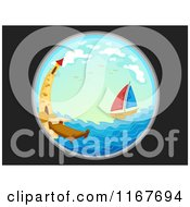 Cartoon Of A Telescopic View Of A Sailboat And Lighthouse At Sea Royalty Free Vector Clipart by BNP Design Studio