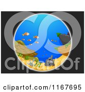 Cartoon Of A Telescopic View Of A Shipwreck And Fish In The Sea Bottom Royalty Free Vector Clipart