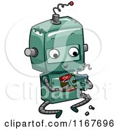Cartoon Of A Cute Green Robot Fixing Itself Royalty Free Vector Clipart