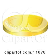 Lucky Golden Penny Coin Clipart Illustration