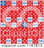 Cartoon Of A Seamless Pattern Of Birthday Presents On Red Royalty Free Vector Clipart by Cherie Reve