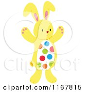Cartoon Of A Yellow Easter Bunny With A Polka Dot Belly Royalty Free Vector Clipart by Cherie Reve