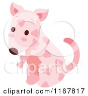 Cute Pink Valentine Heart Patterned Puppy With A Bone