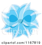 Cartoon Of A Blue Bow And Ribbons Royalty Free Vector Clipart
