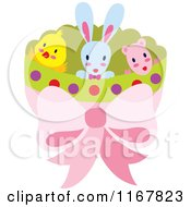 Halved Easter Egg Shell With Rabbit Chick And Lamb