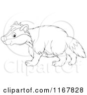 Cartoon Of A Cute Outlined Badger Walking In Profile Royalty Free Vector Clipart by Alex Bannykh
