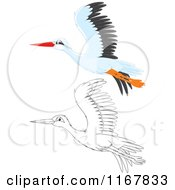 Cartoon Of A Flying Outlined And White Stork Royalty Free Vector Clipart