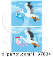 Cartoon Of Bundled Up Babies And Flying Storks Royalty Free Vector Clipart