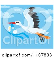 Cartoon Of A Bundled Up Baby Boy Hanging From A Flying Storks Beak Royalty Free Vector Clipart by Alex Bannykh