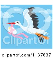 Cartoon Of A Bundled Up Baby Girl Hanging From A Flying Storks Beak Royalty Free Vector Clipart by Alex Bannykh