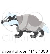Cartoon Of A Cute Badger Walking In Profile Royalty Free Vector Clipart by Alex Bannykh