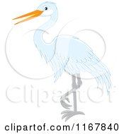 Cartoon Of A Standing White Heron Or Egret Royalty Free Vector Clipart by Alex Bannykh