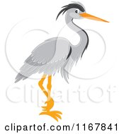 Cartoon Of A Standing Gray Heron Royalty Free Vector Clipart