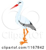 Cartoon Of A Standing White Stork Royalty Free Vector Clipart by Alex Bannykh