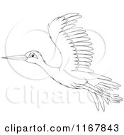 Cartoon Of A Flying Outlined Stork Royalty Free Vector Clipart