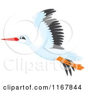 Cartoon Of A Flying White Stork Royalty Free Vector Clipart by Alex Bannykh
