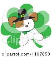 Cartoon Of A St Patricks Day Irish Puppy On A Shamrock Royalty Free Vector Clipart