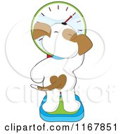 Cartoon Of A Rear View Of A Puppy With A Heart Spot Standing On A Scale Royalty Free Vector Clipart