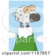 Cartoon Of A Grinning Black Ram On A Mountain Top Royalty Free Vector Clipart